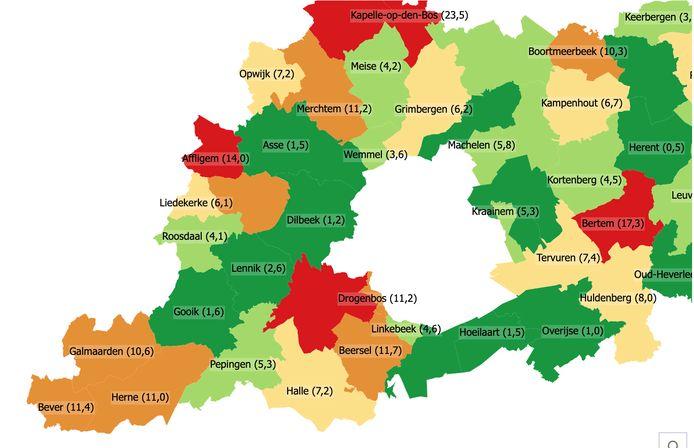 Percentage van het aantal huishoudens per gemeente dat in of bij effectief overstromingsgebied woont