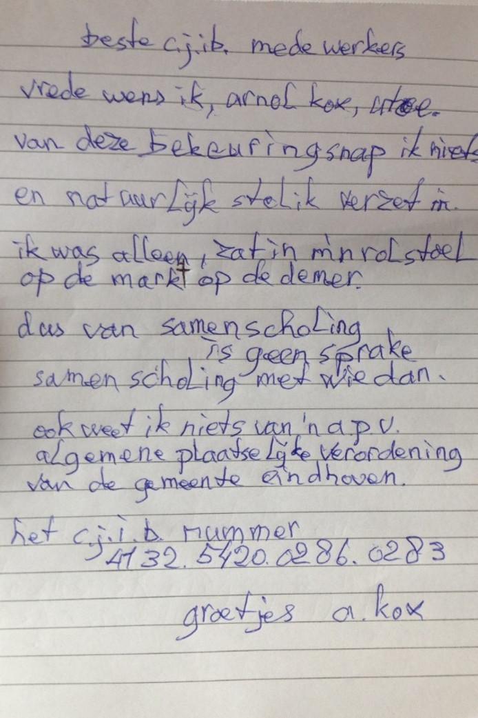 Briefje van Arnol Kox aan het CJIB na zijn laatste proces verbaal.