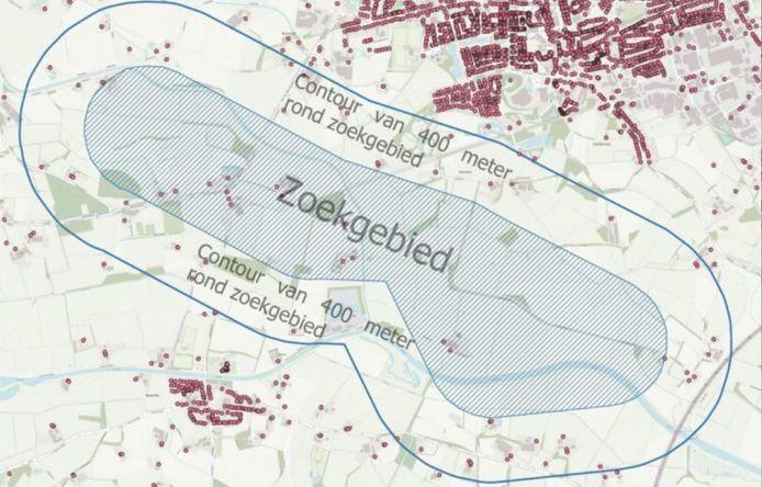 Zoekgebied project windpark Avinkstuw, met de contouren van de 400-meterzone rond de locaties van de vijf beoogde windturbines.