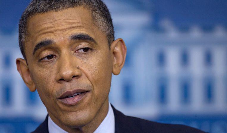President Obama tijdens een persconferentie in het Witte Huis. Beeld ap