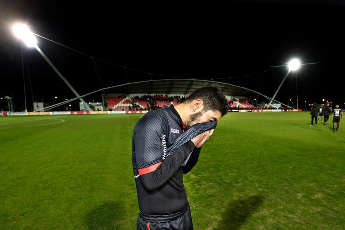 Teleurstelling bij NEC-speler Anass Achahbar na het 2-0 verlies tegen Jong Ajax.