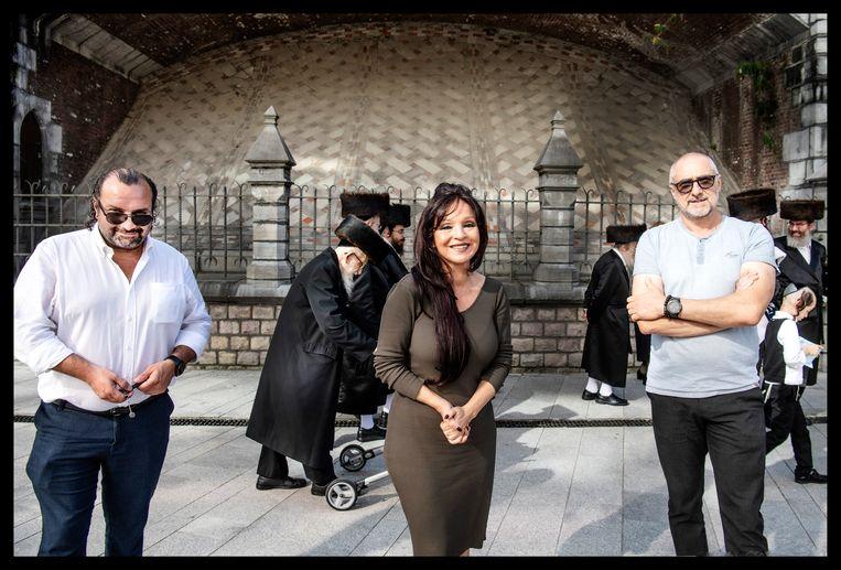 Yilmaz Kursun, Malika Bouhout en Christos Pistolas. Beeld Saskia Vanderstichele