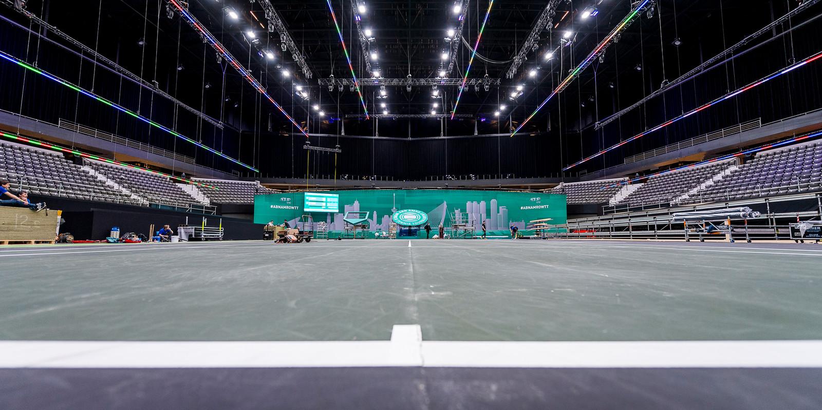 De opbouw van het ABN AMRO World Tennis Tournament.