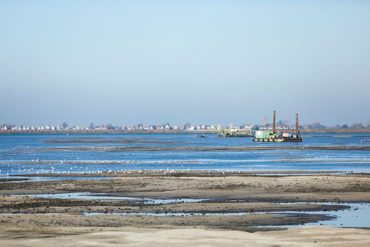Opspuiten van Strandeiland in IJburg Beeld Eva Plevier