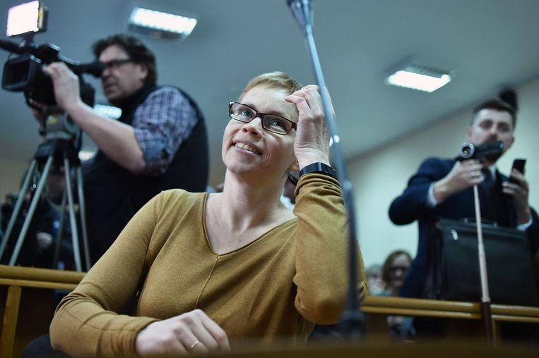Maryna Zolatava, hoofdredacteur van de onafhankelijke nieuwssite Tut.by , in februari. De site werd dinsdag gesloten door het regime in Belarus.  Beeld AFP