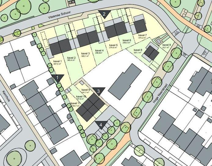 Op dit kaartje is te zien welke ideeën ontwikkelaar iDea Compact nu heeft voor de indeling van het terrein rondom de boerderij aan de Hoge Neerstraat. Er zijn nu 11 bouwkavels gepland.
