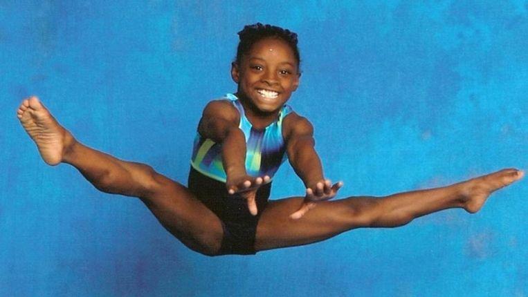 Simone Biles op zesjarige leeftijd. Beeld RV
