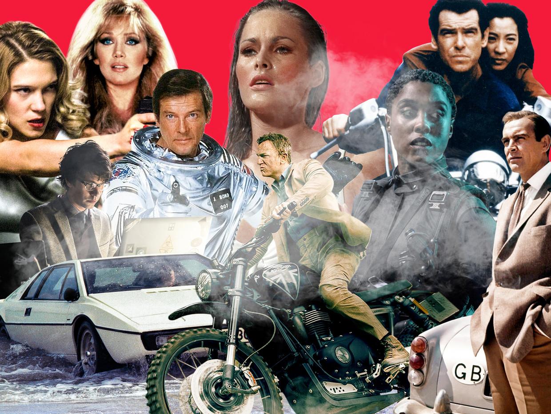 Van de ruwe Sean Connery (r.) tot de menselijke Daniel Craig (m.): James Bond heeft een hele evolutie doorgemaakt. Beeld rv