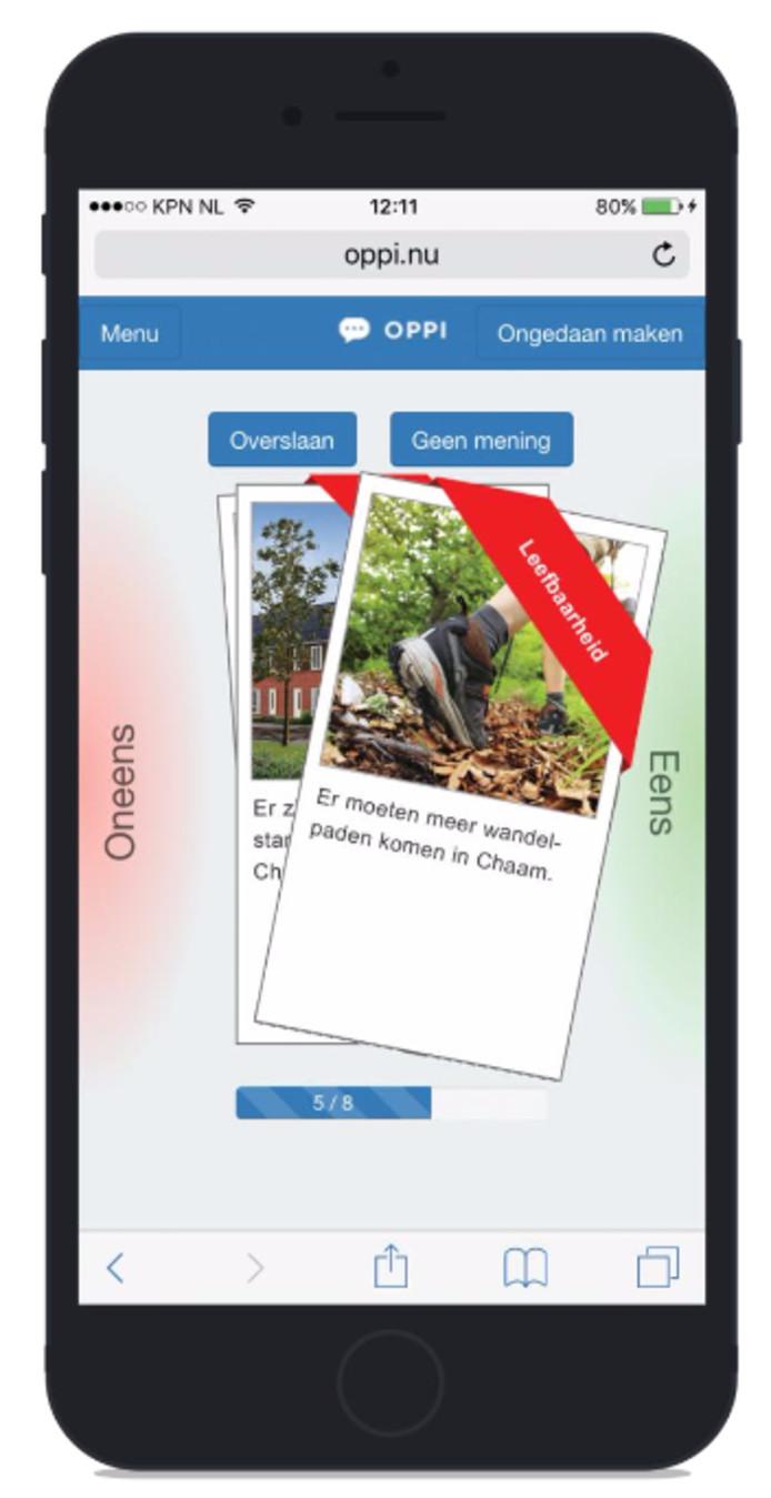 Mening peilen via app Oppi.