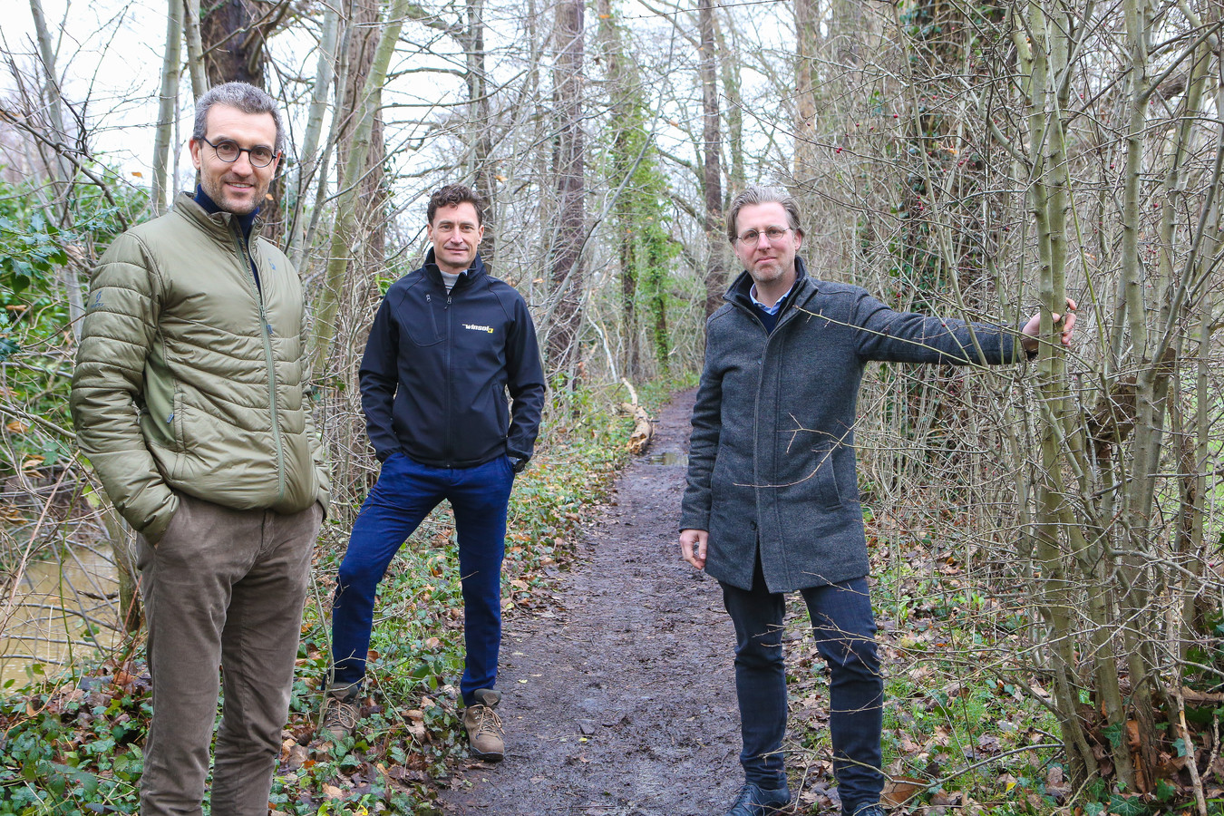Vlnr: Frank Missoul, Xavier Costenoble en Dajo Hermans. Costenoble is CEO en eigenaar van Winsol, het eerste bedrijf dat een bedrijfsbos laat aanleggen door Forest Fwd, de nieuwe firma waarvan de andere twee vennoten zijn.