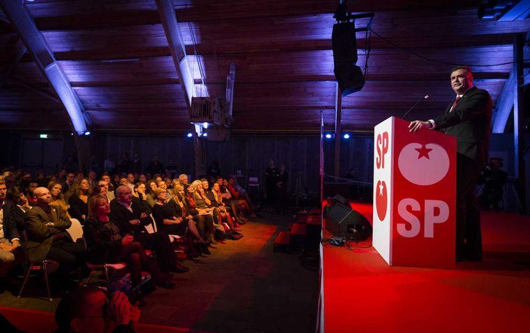 Partijleider Emile Roemer tijdens het SP-congres: 'Wat voelt dit heerlijk.' Beeld anp