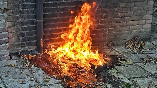 Container gesmolten door brand op voormalig voetbalterrein in Oisterwijk