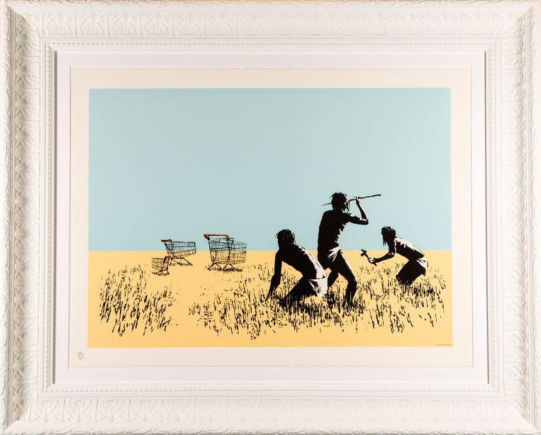Een van de Banksy-werken die in de Deodato-galerie in Brussel te zien zijn.De expo is omstreden.'Dit doe je niet uit passie voor zijn kunst, maar alleen om er geld mee te verdienen.'  Beeld Banksy / Deodato