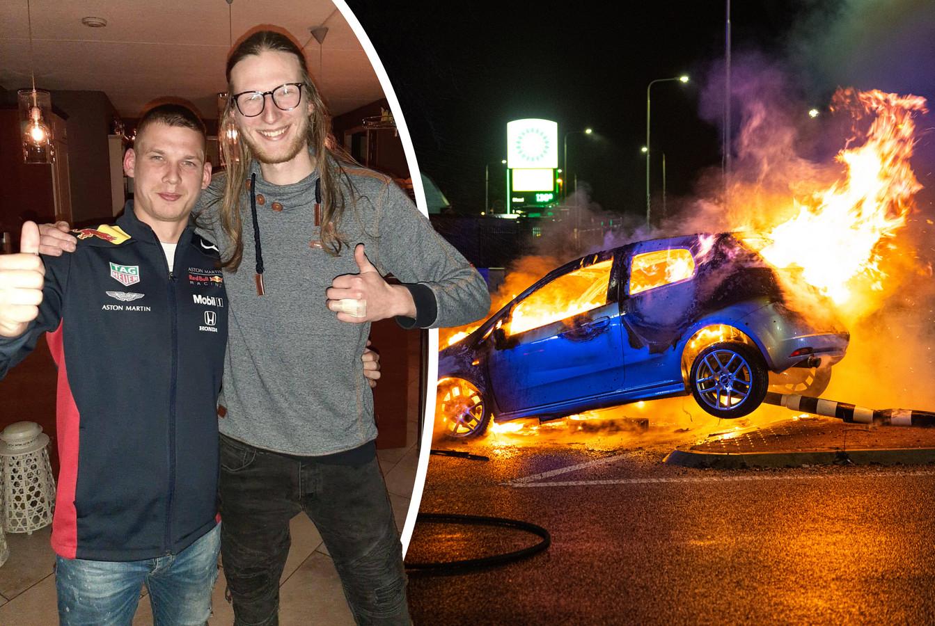Dirkjan Fijn (links) met zijn redder Rigo, die de Elburger afgelopen weekend uit zijn brandende auto sleepte bij 't Harde.