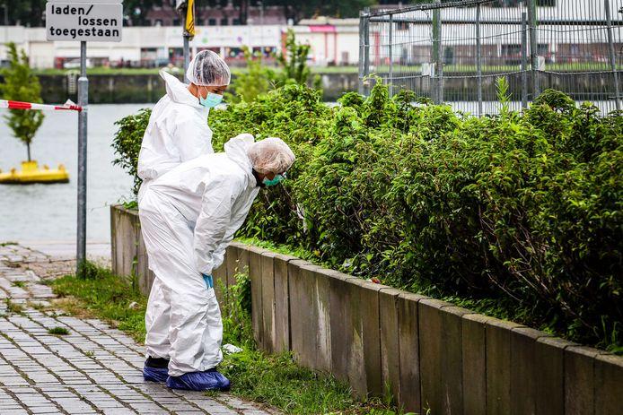 Forensisch rechercheurs onderzoeken de plantenbak bij het Nieuwe Luxortheater in Rotterdam. Een vrouw trof hier een plastic zak aan met daarin een babylijkje.