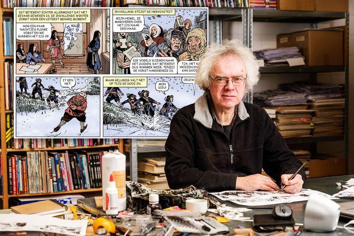 Fred de Heij in zijn atelier in Zaandam. Hij heeft een half jaar getekend aan het stripboek Rampjaar 1672