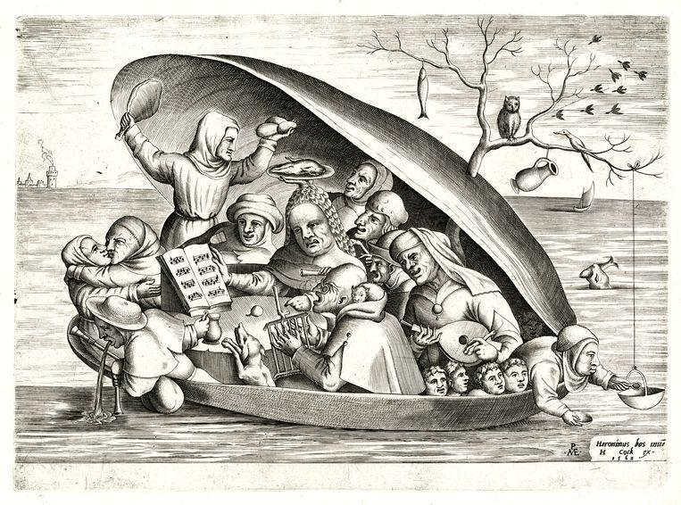 'Muzikanten in een mossel', gegraveerd door Pieter van der Heyden. Beeld © KBR, Koninklijke Bibliotheek van België