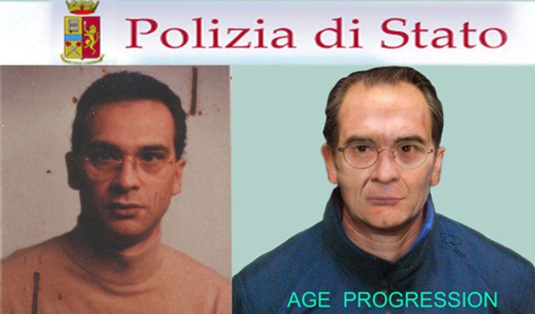 Matteo Messina Denaro op een flyer van de Italiaanse politie, waarbij Denaro met behulp van software verouderd is. Beeld EPA