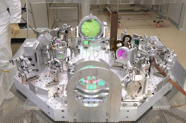 Apparatuur in de Virgo-zwaartekrachtgolfdetector in Italië. Beeld LAPP/The Virgo Collaboration