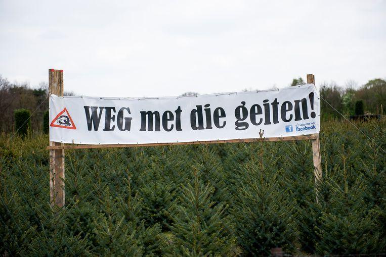 Bewoners Helmond-Dierdonk protesteren tegen grote geitenhouderij in Bakel.  Beeld Carl Mureau