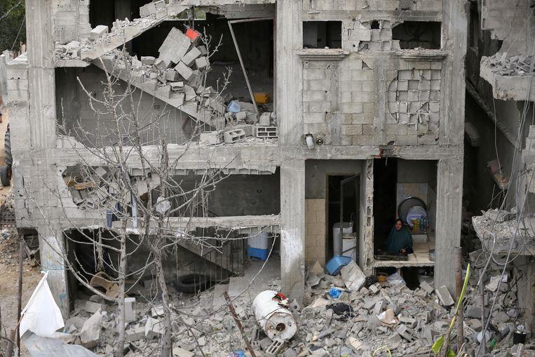 Kapotgeschoten huizen in Gaza.  Beeld REUTERS