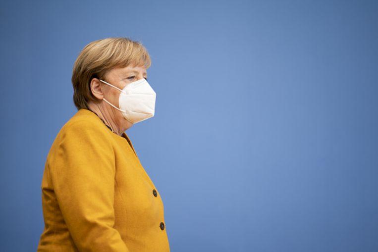 De Duitse Bondskanselier Angela Merkel op een persconferentie in Berlijn. Beeld Getty Images