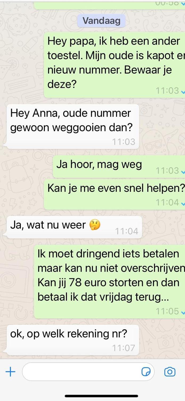 Een illustratiebeeld van hoe fraudeurs via WhatsApp te werk gaan.