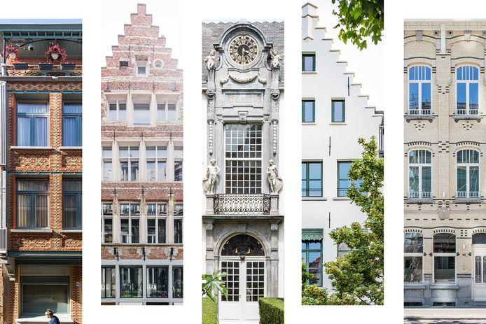 De vijf finalisten voor Het Erfgoedjuweel 2021. V.l.n.r.: Zwartzustersstraat, Kaasstraat, Oude Beurs, Paardenmarkt en Ellermanstraat.