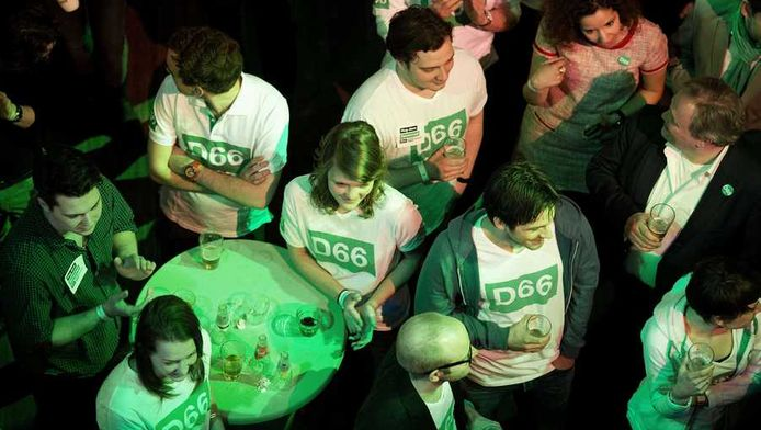 Aanhangers van D66 bijeen in Utrecht.