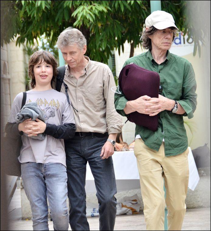 Mick Jagger en zijn zoon Lucas.