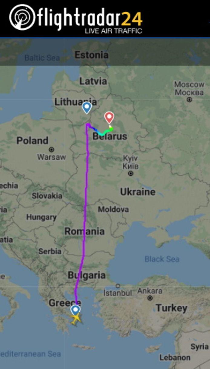 Het vluchtplan van de omgeleide Ryanair-vlucht FR4978.