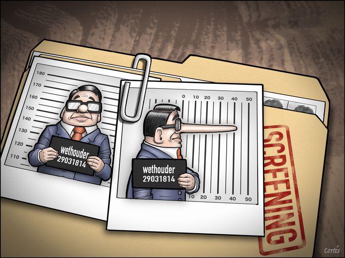 Screening van wethouders. Illustratie: Cortes