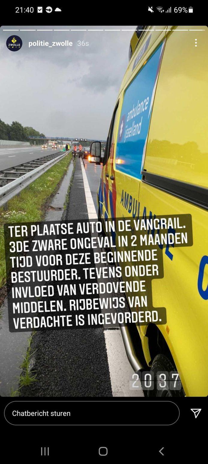 Politie Zwolle deelt ongeluk op Instagram