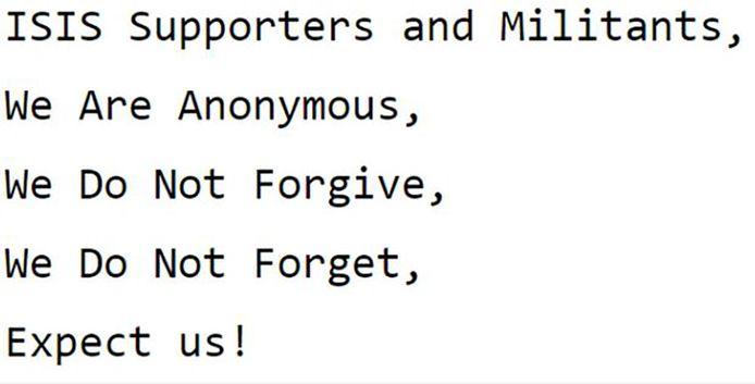 Anonymous plaatste deze waarschuwing bovenaan de lijst met 900 Twitteraccounts van IS die intussen geblokkeerd werden.