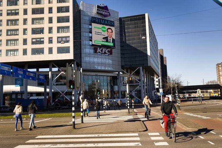 Verkiezingsbord van het CDA in Rotterdam.  Beeld Arie Kievit