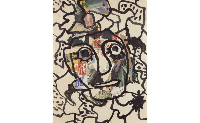 null Beeld Gaston Chaissac, Gezicht op verscheurd papier, 1954
