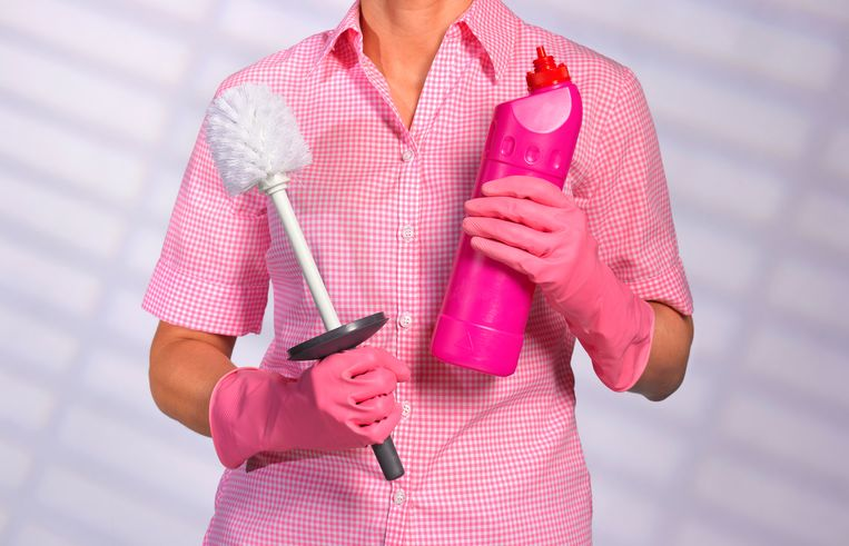 Ready for to clean toilet and household chores, cleaner in uniform Beeld Getty Images