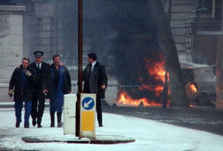 Downing Street, Londen, 1991, vlak nadat de IRA drie mortieren op de Britse ambtswoning had afgevuurd. Beeld rv