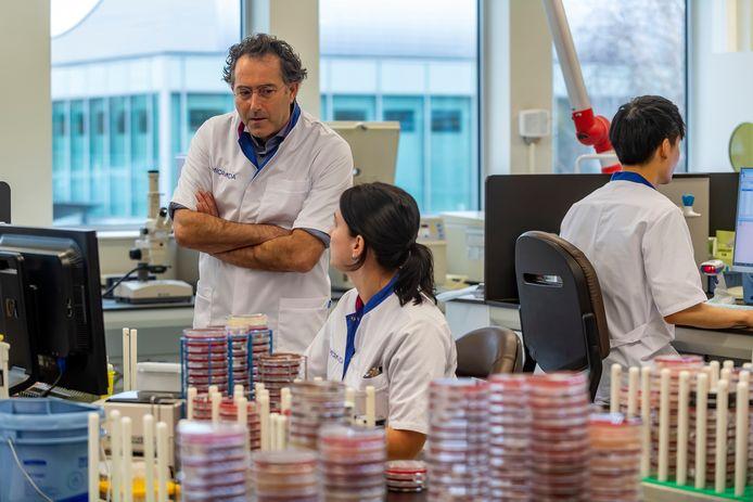 Arts-microbioloog Bram Diederen in het testlab van Microvida in Roosendaal.