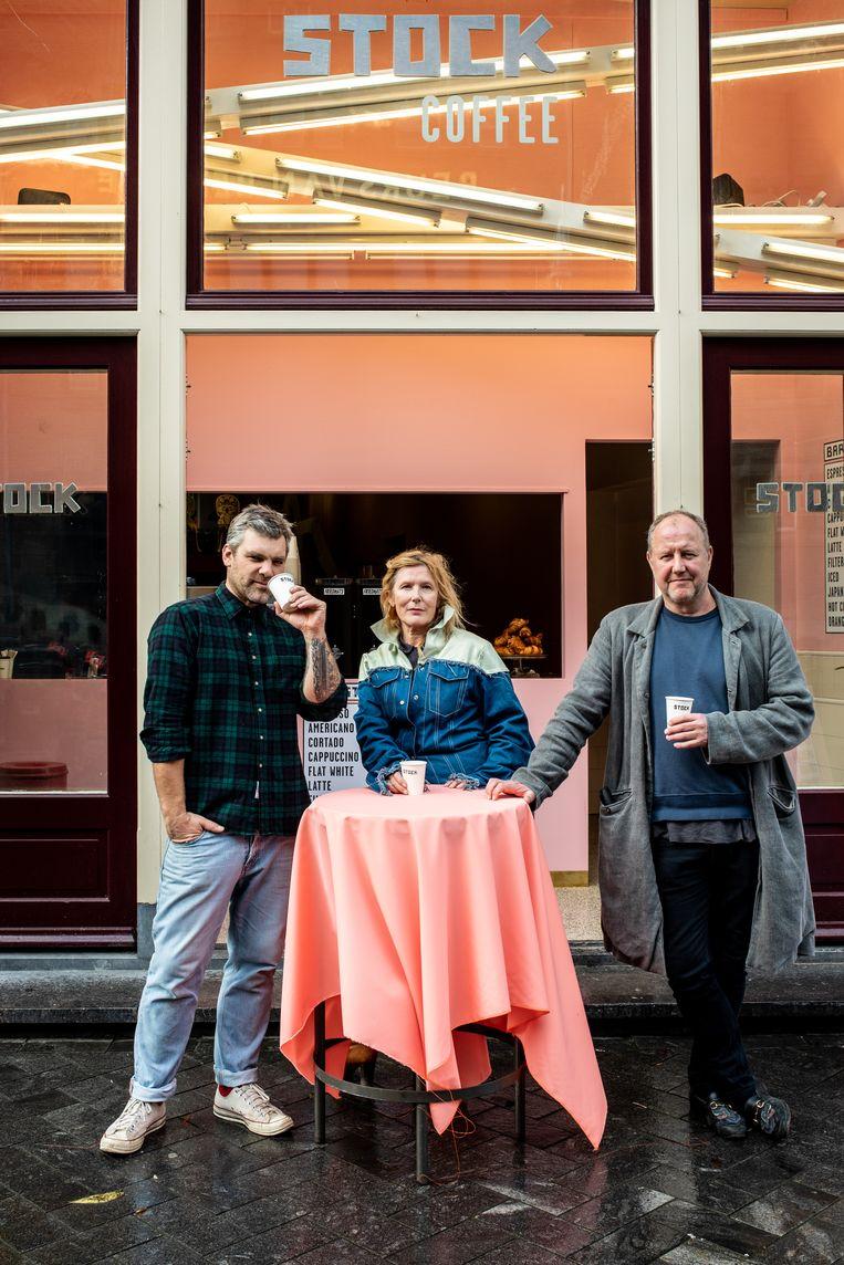 Bar Stock, Joris Vermeer (links), Suzanne Oxenaar (midden), Otto Nan (rechts). Beeld Nosh Neneh