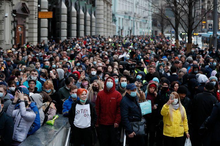 Demonstranten in Moskou. Beeld EPA