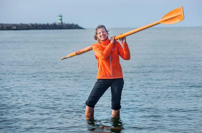 Oceaanroeister Renate de Backere op Scheveningen.