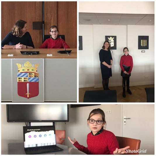 José van Egmond maakte in maart een collage van haar ontmoeting met 'adviseur kinderburgemeester' Maria Twigt.