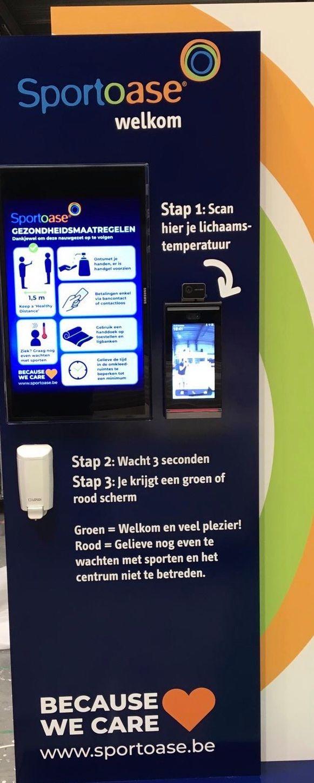 Aan de ingang van elke Sportoase wordt de temperatuur gemeten.