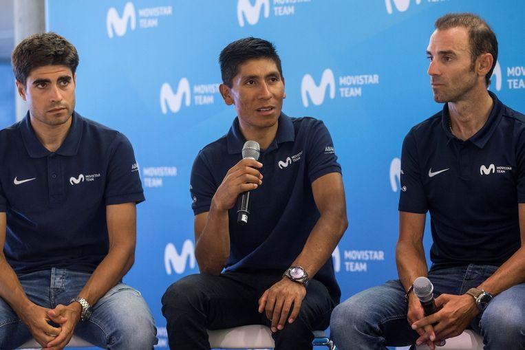 Mikel Landa, Nairo Quintana en Alejandro Valverde.