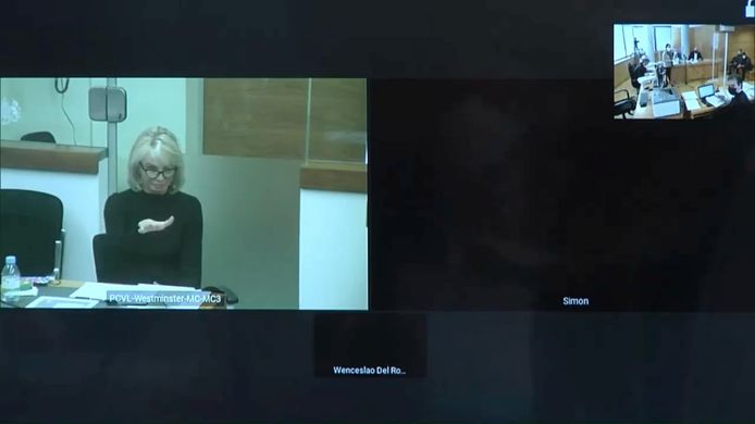 Corinna Larsen in de (virtuele) rechtbank.