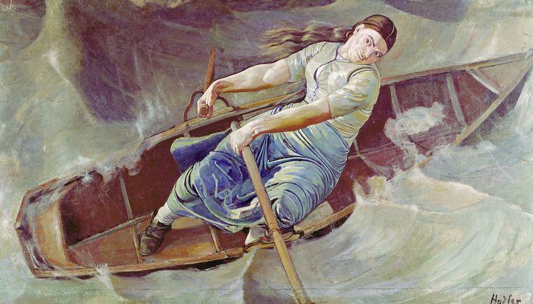 De moedige vrouw (1886) van Ferdinand Hodler Beeld Kunstmuseum Basel