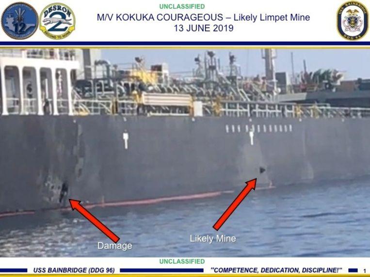 Een Amerikaanse militaire foto waarop een kleefmijn te zien zou zijn op de Kokuka Courageous Beeld REUTERS