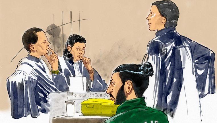 Verdachte Achraf B. op een rechtbanktekening Beeld anp