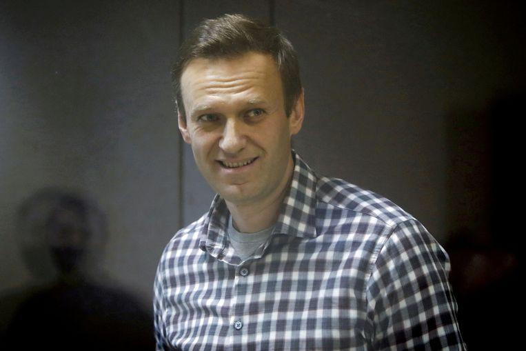 De Russische oppositieleider  Aleksej Navalny op een zitting van de rechtbank in Moskou, februari 2021. Beeld REUTERS